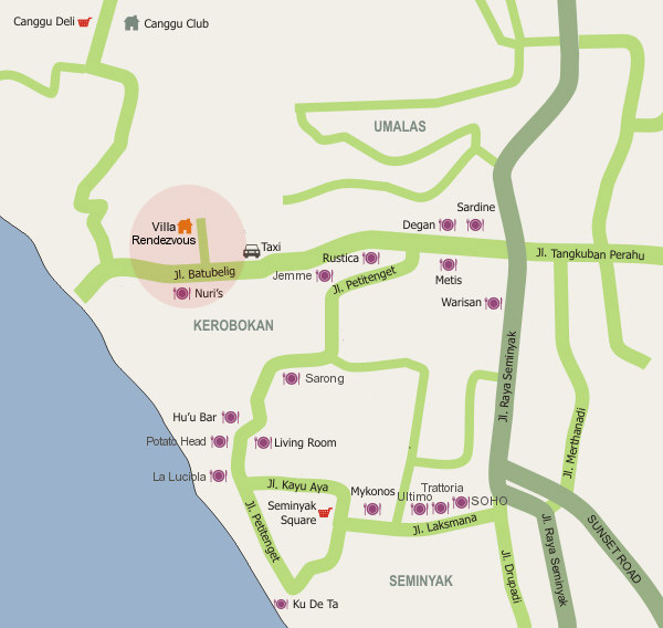 Location of Villa Rendezvous and dining places